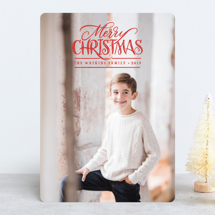 """""""Simple Wishes"""" - Christmas Photo Cards in Berry by Laura Bolter Design."""