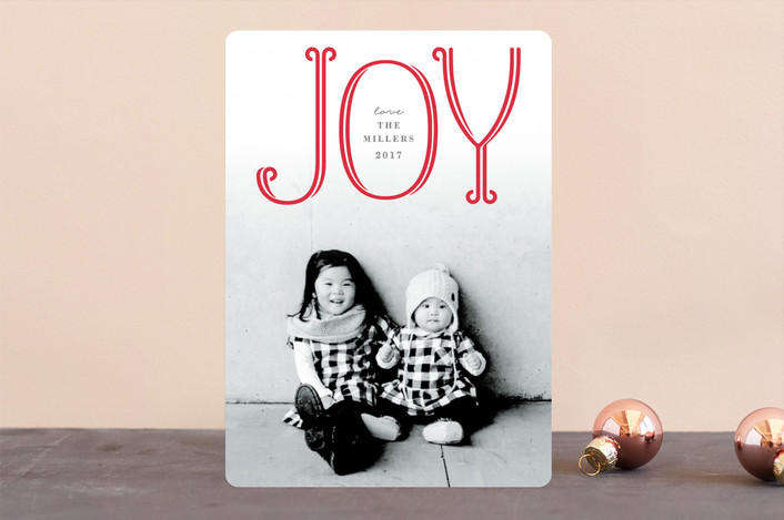 """Flourished Joy"" - Modern Christmas Photo Cards in Candy Cane by Michelle Poe."