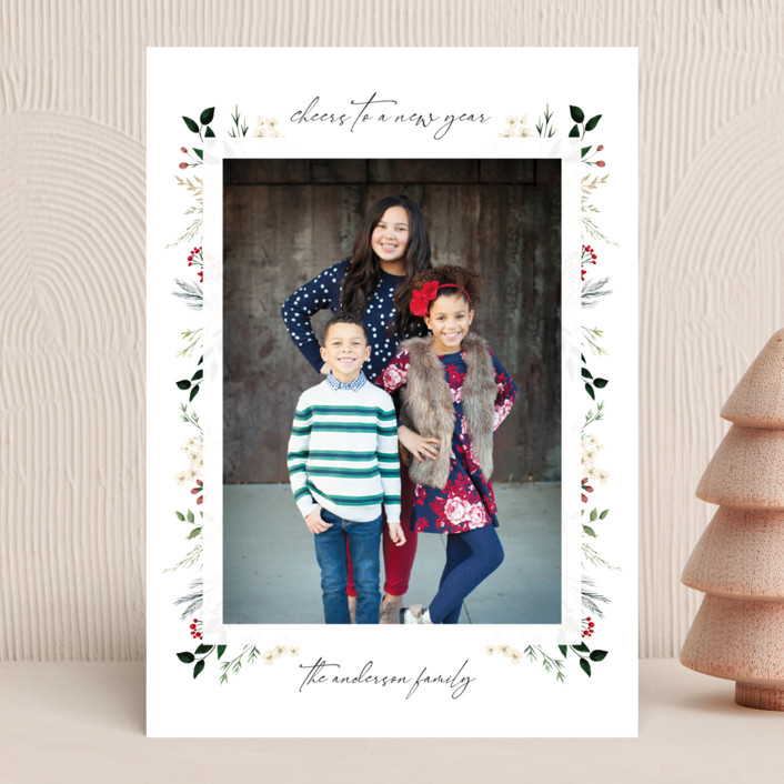 """Love, Peace & Hope"" - Christmas Photo Cards in Crimson by Susan Moyal."
