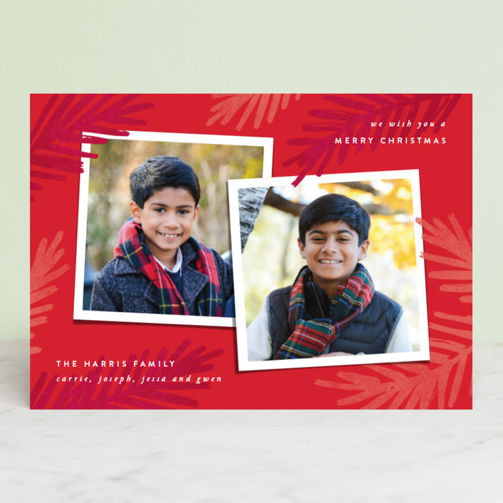 """Two of a Kind"" - Christmas Photo Cards in Poinsettia by Hooray Creative."