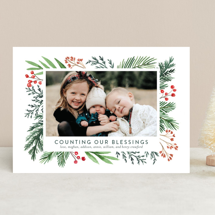 """Evergreen Olio"" - Christmas Photo Cards in Snowflake by Amy Kross."