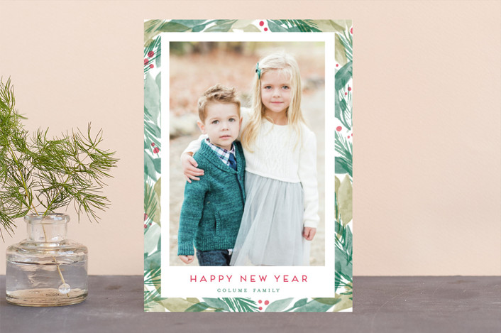 """Bright Evergreens"" - Christmas Photo Cards in Sage Leaf by Shiny Penny Studio."