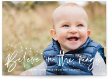 This is a white photo christmas card by Annie Holmquist called Believe with standard printing on smooth signature in standard.