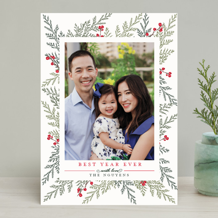 """""""Christmas Blessings"""" - Classical, Elegant Christmas Photo Cards in Crimson by Susan Moyal."""