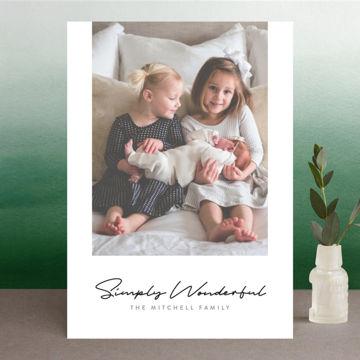 """Simply Wonderful"" - Christmas Photo Cards in Midnight by GeekInk Design."