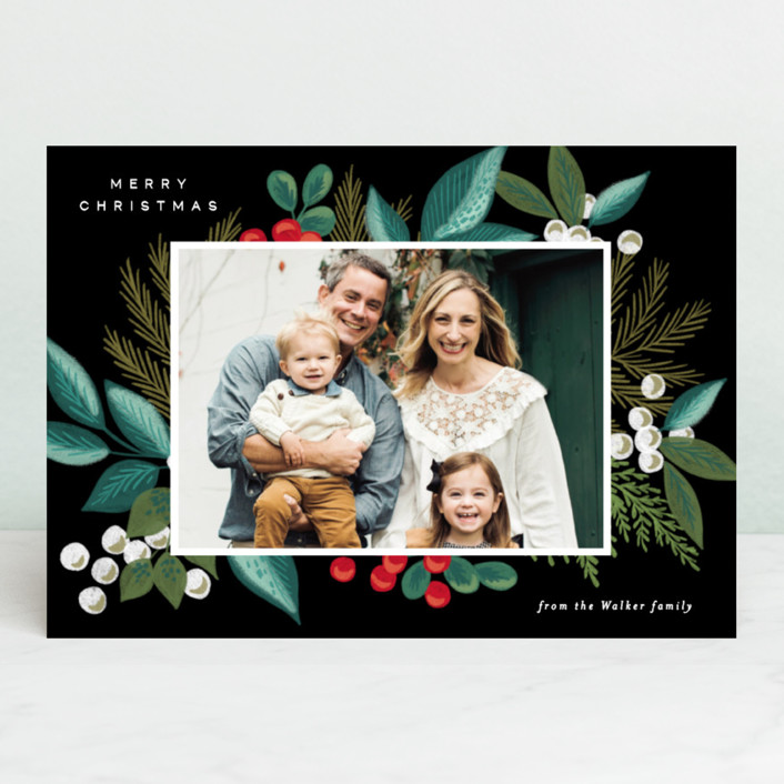 """Greenery Spray"" - Christmas Photo Cards in Greenery by Alethea and Ruth."