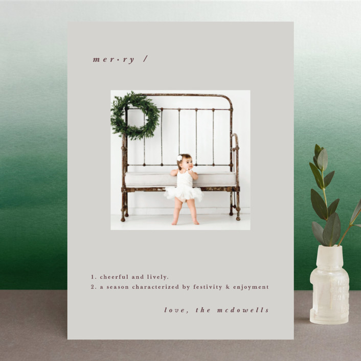 """""""The Definition of Merry"""" - Christmas Photo Cards in Winter by Emmeline Bramble."""