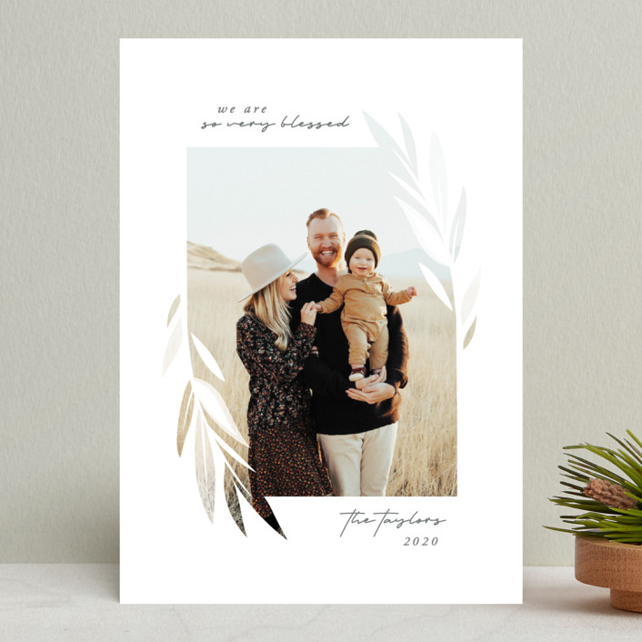 """""""Blessed Leaves"""" - Modern Christmas Photo Cards in Stone by JeAnna Casper."""
