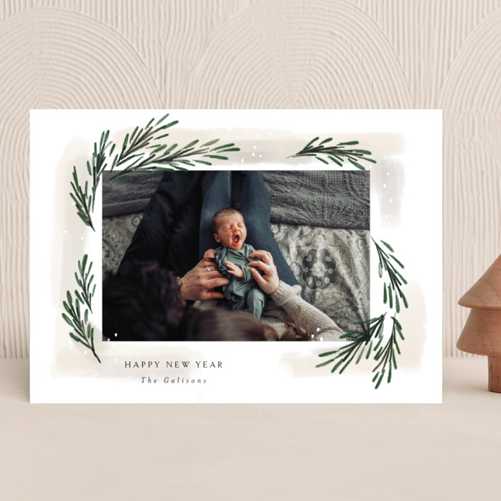 """""""sweeping sprigs"""" - Christmas Photo Cards in Eggnog by Rebecca Durflinger."""