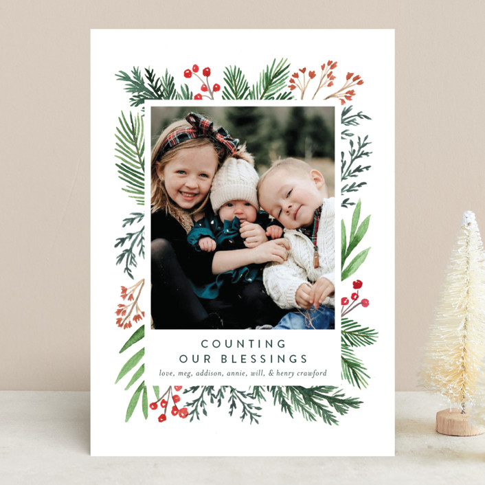 """""""Evergreen Olio"""" - Christmas Photo Cards in Snowflake by Amy Kross."""