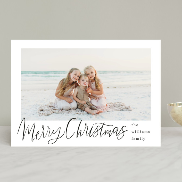 """Minimal Lettered Christmas"" - Christmas Photo Cards in Onyx by Alicia Schultz."