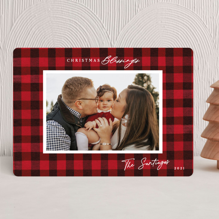 """Winter Plaid"" - Vintage Christmas Photo Cards in Cherry by Elly."