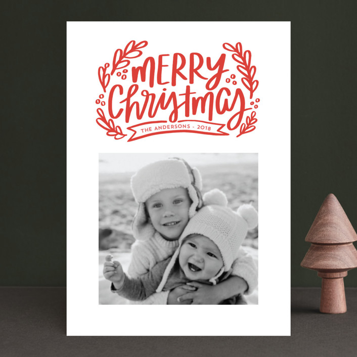 """""""Merry Little Branches"""" - Christmas Photo Cards in Crimson by Little Print Design."""