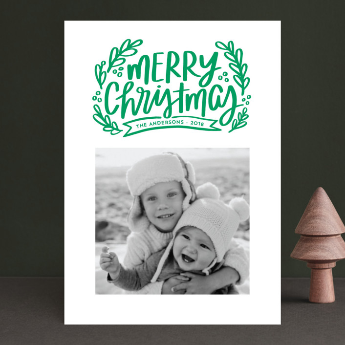 """""""Merry Little Branches"""" - Christmas Photo Cards in Golden Rod by Little Print Design."""