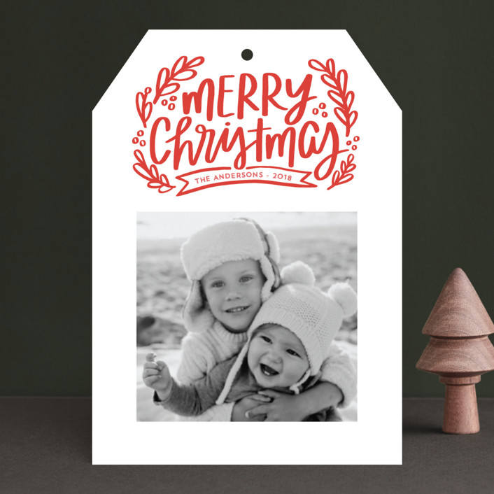 """Merry Little Branches"" - Christmas Photo Cards in Crimson by Little Print Design."