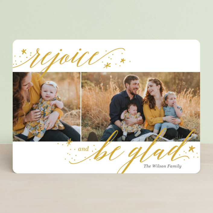"""""""Rejoice and Be Glad"""" - Christmas Photo Cards in Snow by Laura Hankins."""