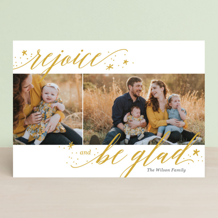 """Rejoice and Be Glad"" - Christmas Photo Cards in Snow by Laura Hankins."