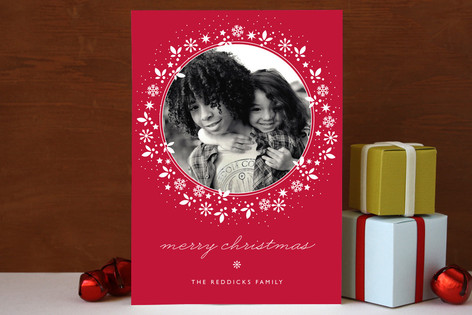 Red Wreath Christmas Photo Cards
