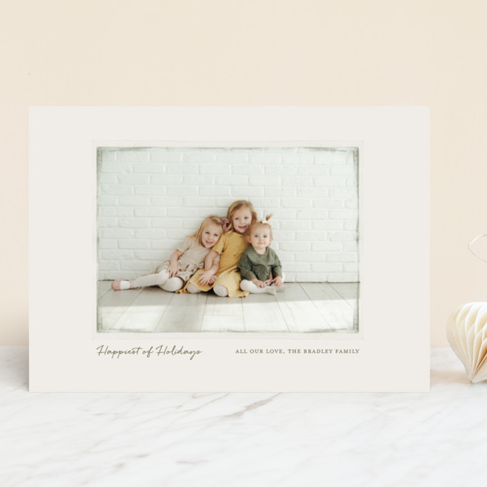 """""""Vintage Frame"""" - Christmas Photo Cards in Grass by Gray Star Design."""