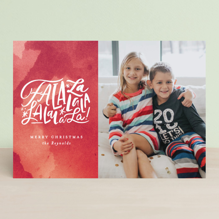 """Fa La Forever"" - Christmas Photo Cards in Crimson by Carrie ONeal."