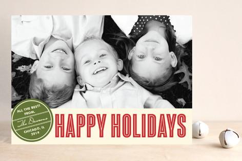 Retro Peace Christmas Photo Cards