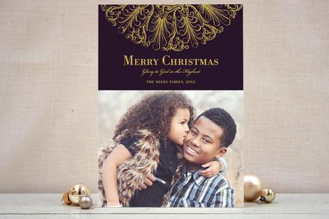 Round Flourish Christmas Photo Cards