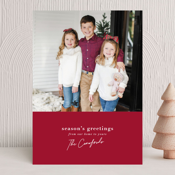 """""""Signature Greeting"""" - Christmas Photo Cards in Poinsettia by Meggy Masters."""