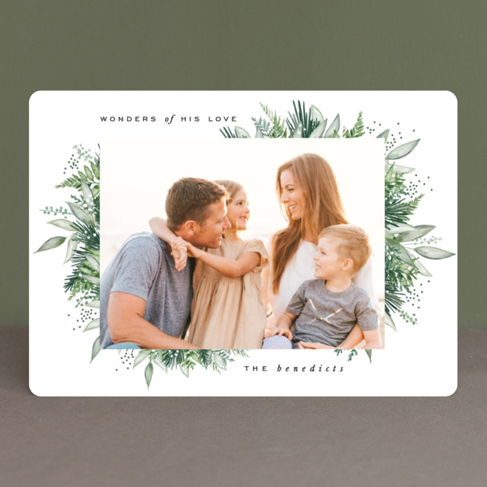 """""""Wintery Greens"""" - Christmas Photo Cards in Forest by Leah Bisch."""