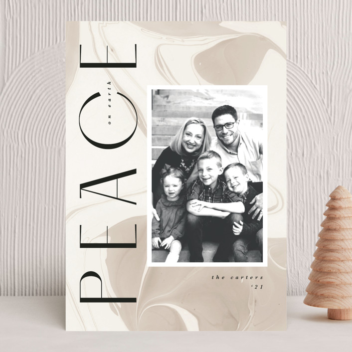 """""""Modern Marble"""" - Christmas Photo Cards in Almond by Kate Ahn."""