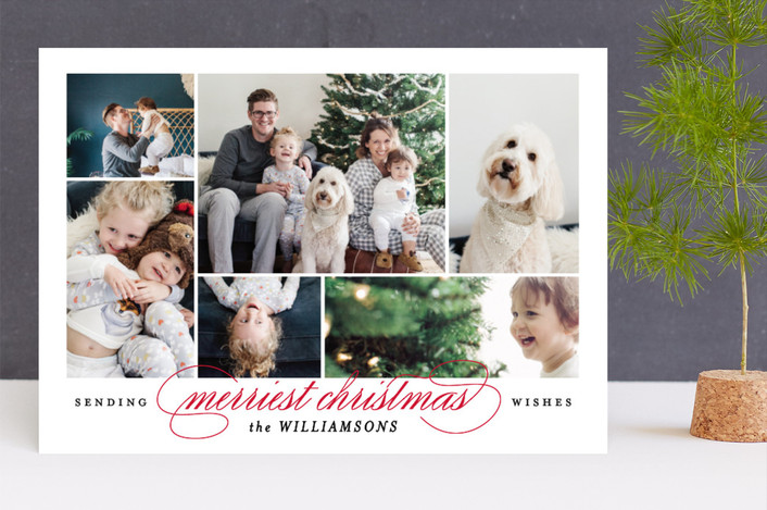 """Merriest memories"" - Christmas Photo Cards in Cherry by Kimberly FitzSimons."