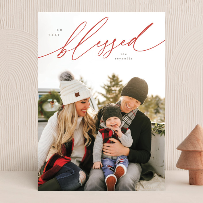 """""""Red Script"""" - Christmas Photo Cards in Red Berry by Hooray Creative."""