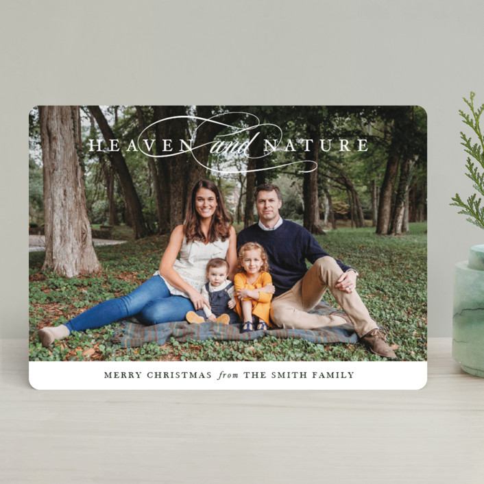 """Just Heaven and Nature"" - Christmas Photo Cards in Greige by Park House Paperie."