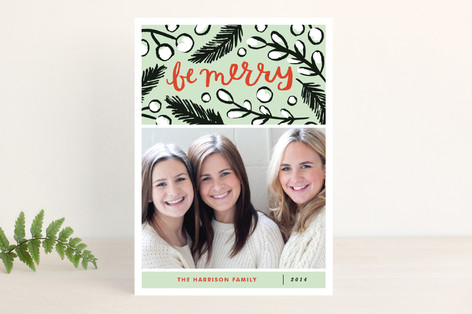 Be Merry Branches Christmas Photo Cards