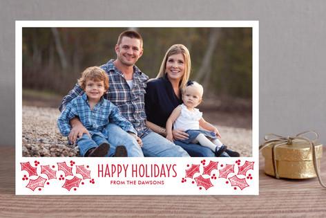 Happy Holly Frame Christmas Photo Cards