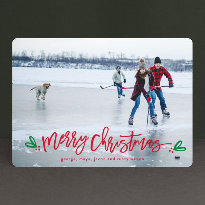 """Berries of fun"" - Christmas Photo Cards in Evergreen by Michelle Poe."