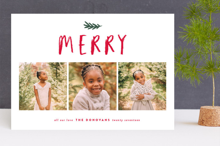 """Happy crayon"" - Christmas Photo Cards in Cranberry by Stacey Meacham."