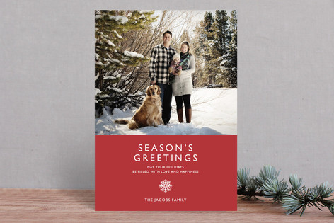 Modern Snowflake Christmas Photo Cards
