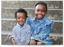 This is a white photo christmas card by Kristen Magee called Scripty Merry Christmas with standard printing on doublethick in standard.