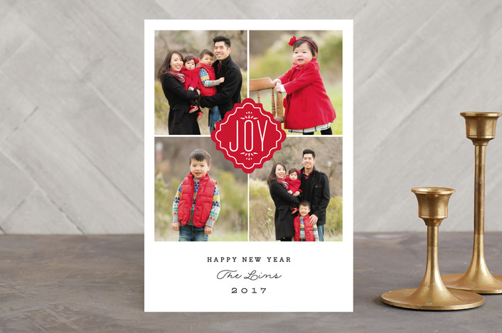 """""""Timeless Joy"""" - Christmas Photo Cards in Cherry by Ashley Hegarty."""