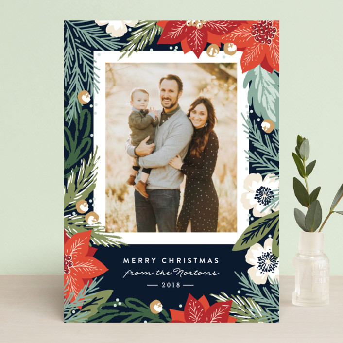 """""""Winter Botanicals"""" - Christmas Photo Cards in Deep Ocean by Alethea and Ruth."""