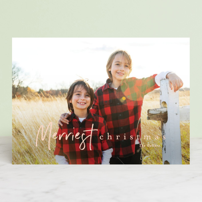 """canoli"" - Christmas Photo Cards in Peach by chocomocacino."