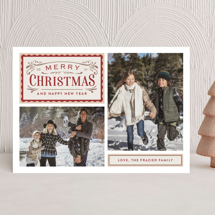 """""""Vintage Labels"""" - Vintage Christmas Photo Cards in Cream by Jill Means."""