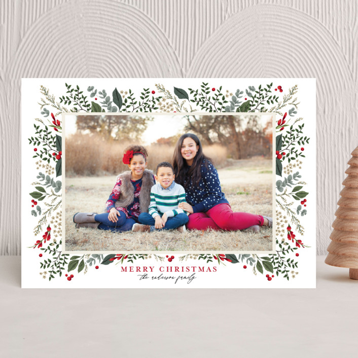 """""""Classic Christmas"""" - Christmas Photo Cards in Crimson by Susan Moyal."""