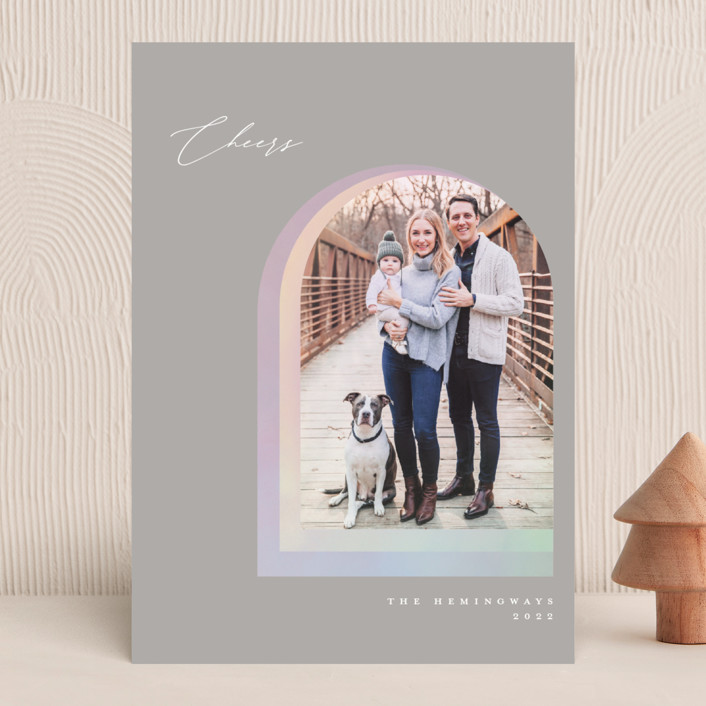 """""""Soft Arch"""" - Modern Christmas Photo Cards in Smoke by Vivian Yiwing."""