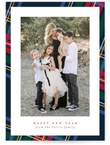 This is a blue photo christmas card by Lea Delaveris called Plaid framed with standard printing on smooth signature in standard.