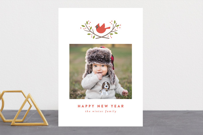 """""""cardinal crest"""" - Christmas Photo Cards in Maple Leaf by Susan Asbill."""