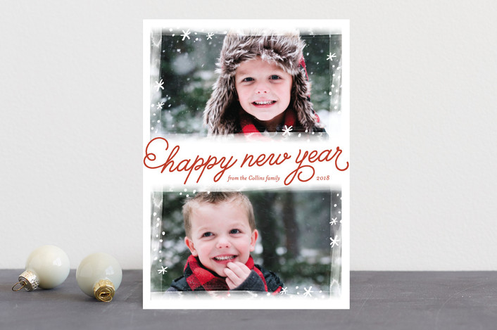 """Frosted Frames"" - Christmas Photo Cards in Crimson by Laura Hankins."