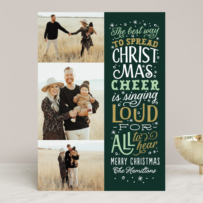 """""""Spread Cheer"""" - Vintage Christmas Photo Cards in Evergreen by Sarah Brown."""