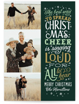 This is a green photo christmas card by Sarah Brown called Spread Cheer with standard printing on smooth signature in standard.