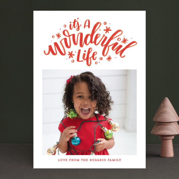 """Simply Wonderful"" - Christmas Photo Cards in Ruby by Cat Caudillo."